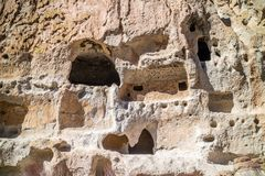 Cliff Dwelling Ruins in Bandelier National Monument, New Mexico stock photo