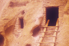 Cliff dwellings at Frijoles Indian Ruins, NM Stock Photography