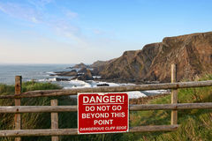 Cliff edge danger Royalty Free Stock Image