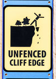 Cliff Edge Sign Unfenced Fotos de archivo
