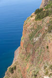 The cliff face of Cabo Girao as seen straight down from viewpoint. Madeira Royalty Free Stock Photography