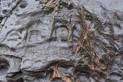 Cliff Face Deposits, Weathering and Coastal Rock Formations. Interesting deposits, honeycomb weathering and coastal rock formations found on the cliff face of Stock Photos