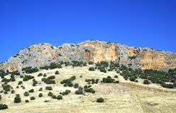 Cliff face. mountain with a cliff, Malaga, Andalusia, Spain Stock Images