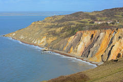 Cliff face. A photo of the coloured sands cliff face on the isle of wight Stock Image