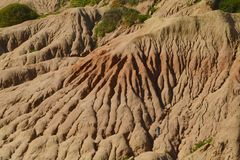 Cliff Face. Scarred cliff face at Sunset Cliffs in San Diego, California stock photo