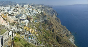 Cliff Fira panorama at Santorini, Greece Royalty Free Stock Photos