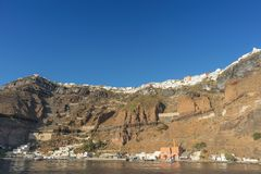Cliff of fira, view of the sea. Santorini Greece.  stock photography