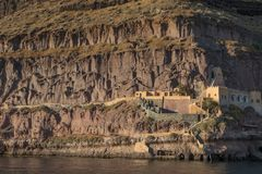 Cliff of fira, view of the sea. Santorini Greece.  royalty free stock image