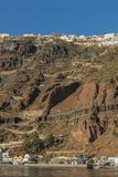 Cliff of fira, view of the sea. Santorini Greece. Europe. With water ocean stock image