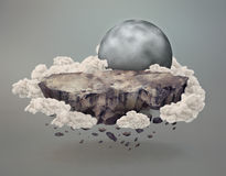 Cliff floating surrounded by clouds near the moon Stock Image