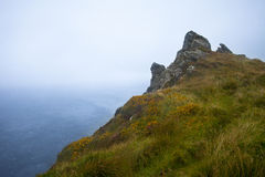 Cliff in fog. Cliff towering over atlantic in fog Royalty Free Stock Photos