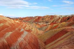 Cliff and formations in Danxia at Zhangye. Cliff and formations in Danxia National Geological Park at Zhangye, China stock photography