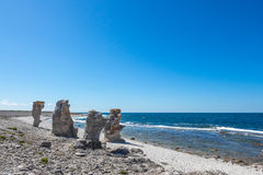 Cliff formations at the rocky coast of Gotland, Sweden Royalty Free Stock Photography
