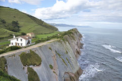 Cliff formed by the Flysch, Northern Spain Stock Images