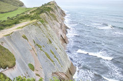 Cliff formed by the Flysch, Northern Spain Stock Photo