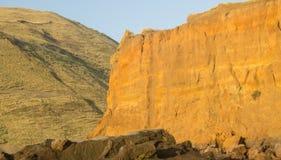 Cliff at Hamilton`s Gap. Yellow sand cliff Hamilton`s Gap, Awhitu Peninsula Auckland, New Zealand Stock Image
