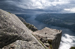 Cliff Hanger. Amazing view of cliffs and fjords Stock Photo