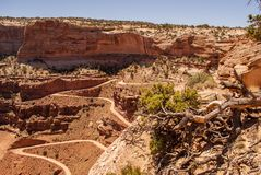 Cliff hanging road - Canyonlands National Park. Canyonlands NP - Shafer Canyon Road Royalty Free Stock Photos