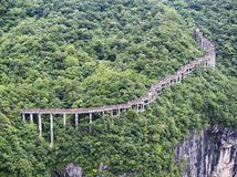 The Cliff Hanging Walkway at Tianmen Mountain, The Heaven`s Gate at Zhangjiagie, Hunan Province, China, Asia royalty free stock photo