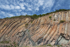 Cliff in Hong Kong Geographical Park. Hong Kong Geographical Park, the force of nature, folding and natural hexagonal column royalty free stock images