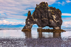 The cliff in Iceland as huge prehistoric monster Royalty Free Stock Photography