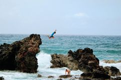 Cliff Jumper in Maui stock photos