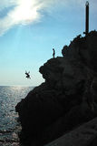 Cliff jumpers in Montenegro Royalty Free Stock Photos