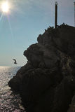 Cliff jumpers in Montenegro Royalty Free Stock Image