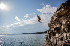 Cliff Jumping Stockfoto