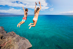 Cliff jumping Royalty Free Stock Photography