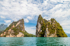 Cliff in the Khao Sok Cheow lan lake, Thailand Royalty Free Stock Image