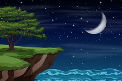 A cliff landscape at night royalty free stock photography