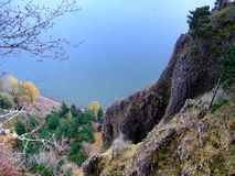 Cliff Leading Down To Columbia River Gorge Royalty Free Stock Photography