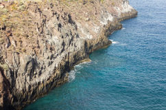 Cliff ledge out over the atlantic ocean on the Canary islands. royalty free stock images