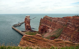 Cliff line of Heligoland with the Tall Anna Royalty Free Stock Photos