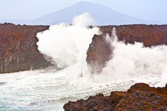 Cliff line at Los Hervideros, Lanzarote Royalty Free Stock Image
