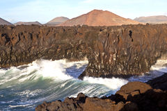 Cliff line at Los Hervideros, Lanzarote Stock Images