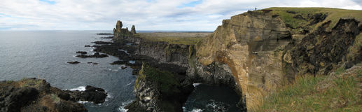Cliff of Londrangar (Iceland). Panorama of the cliff of Londrangar (Snaefellsness, Iceland stock images
