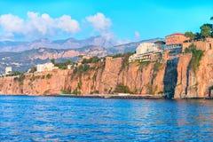 Cliff at Marina Grande in Sorrento. Tyrrhenian sea, Amalfi coast, Italy Royalty Free Stock Photo
