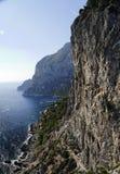 Cliff and Marina Piccola Capri Island. A steep Cliff and Via Krupp to Marina Piccola in the Island of Capri Royalty Free Stock Images