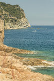 Cliff Mediterranean coast on a vintage still Royalty Free Stock Photo