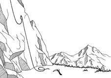 Cliff mountaineering graphic art black white landscape sketch illustration. Vector Stock Photography