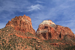 Cliff Mountains. Red cliff mountains against blue sky in Zion national park.utah.USA Stock Image