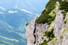 View of massive rocky cliff in Mala Fatra stock images