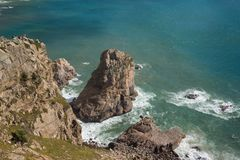 Cliff in the ocean of cabo de roca royalty free stock images