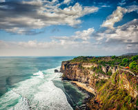Cliff in ocean on sunset Royalty Free Stock Photography