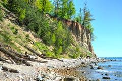 Cliff of Orlowo at Baltic sea, Poland stock photos
