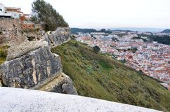 Cliff over the city of Nazare in Portugal Royalty Free Stock Images