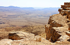 Cliff over the Ramon Crater. In Negev Desert in Israel Stock Image