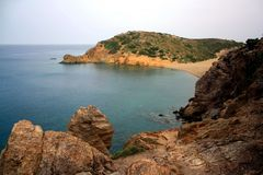 Cliff overlooking an isle with some trees, Vai beach of Crete Island stock image